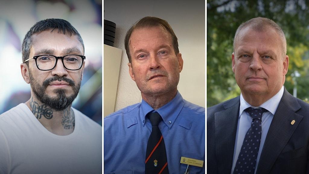 Tre porträtt på tre män.