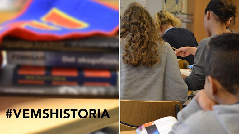 Bildkollage med #vemshistoria, skolböcker och skolelever i ett klassrum