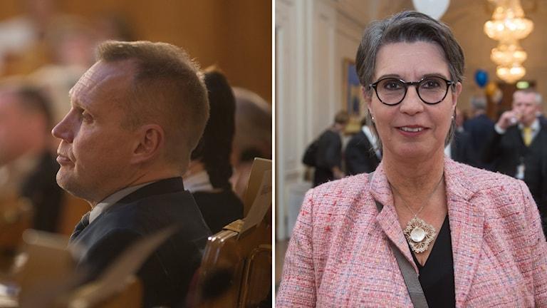 Vasemmalla kuvassa Pyry Niemen profiili, oikealla kameraan katsova Ellen Juntti.