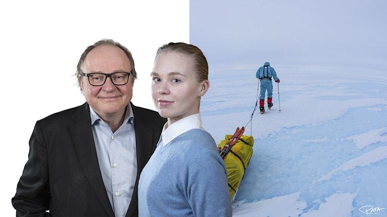 Mies, nainen ja taustalla jäätiköllä kävelevä henkilö.