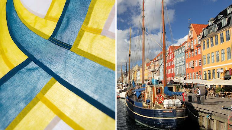 Ruotsinsuomalaisten lippu ja Kööpenhaminan Nyhavn