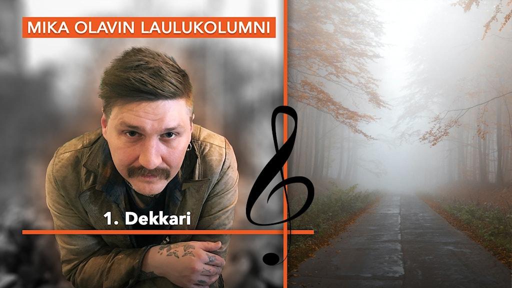 Kuvassa muusikko Mika Olavi ja autio syksyinen tie. Kuvituskuva G-avaimesta