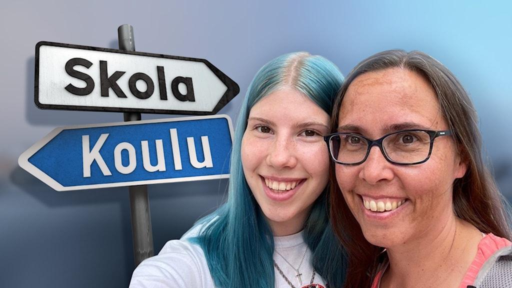 """Mor och dotter framför en skylt med texten """"Skola"""" på finska och svenska."""