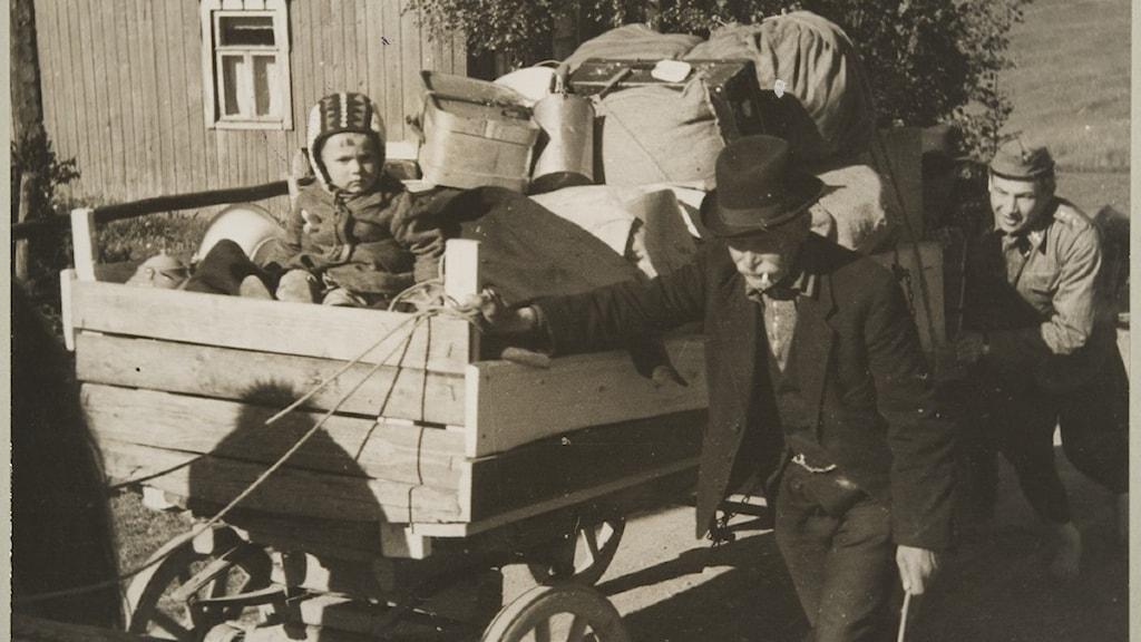 Puisissa tavaroita täynnä olevissa hevoskärryissä istuu pieni lapsi, kärryjen vierellä kävelee vanha mies. Sotilas työntää kärryjä.