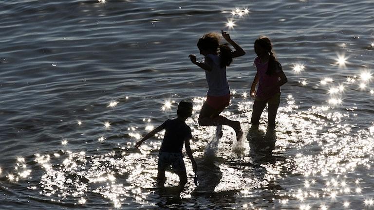 Kolme lasta leikkii vedessä.