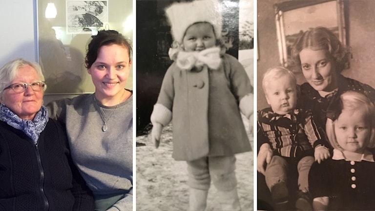Kuvakollaasi: Uusi kuva Maaret ja Anni Riit'ahosta ja kaksi vanhaa valokuvaa sotaa edeltävältä ajalta