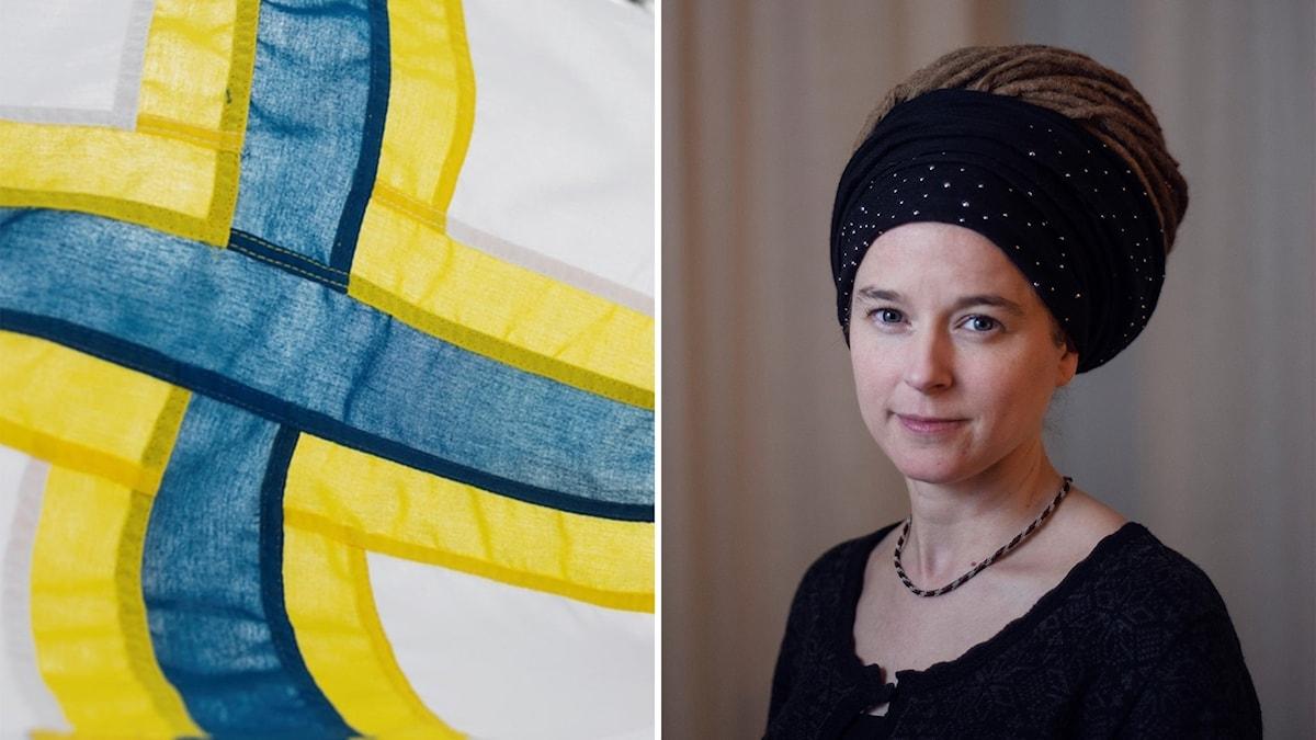 Ett bildmontage med två bilder. Till vänster en inzoomad bild på den sverigefinska flaggan. Till höger ett porträtt på kulturminister Amanda Lind. Klädd i svart