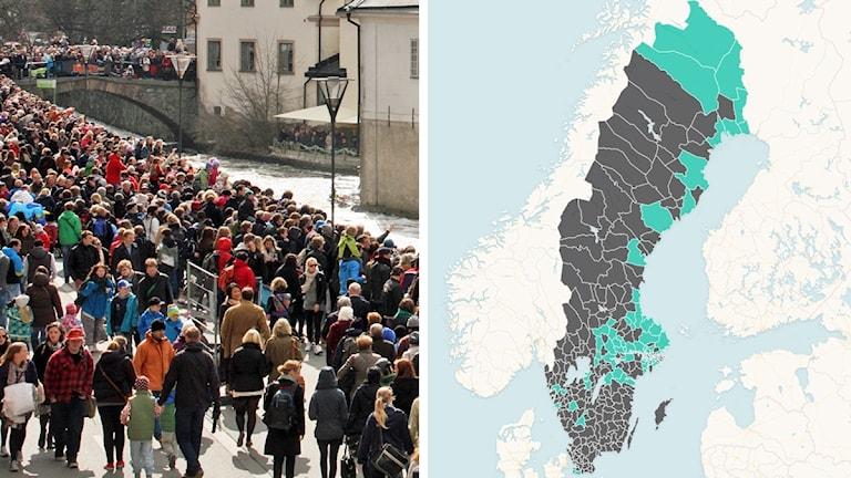 Kaksi kuvaa: vasemmalla ihmisvilinää Uppsalassa, oikealla kartta, johon on merkitty turkoosilla värillä hallintoaluekunnat ja harmaalla muut Ruotsin kunnat.
