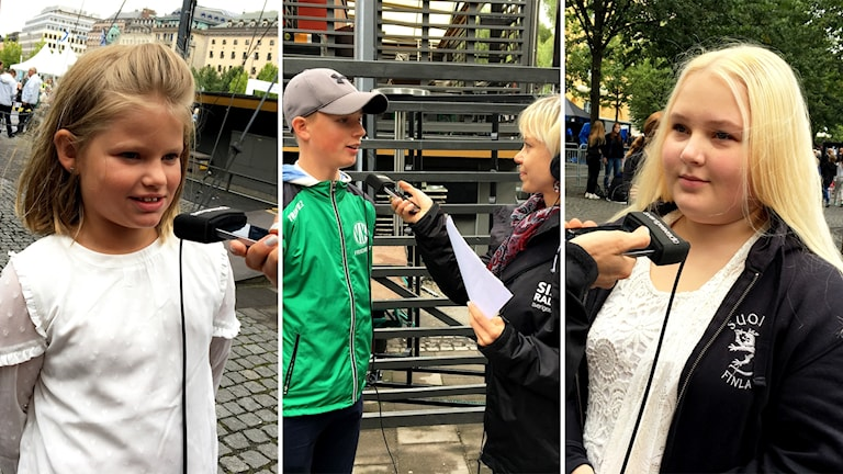 Tre unga som intervjuas, två tjejer och en kille
