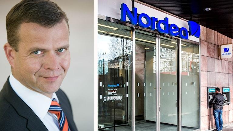 Finlands finansminister Petteri Orpo och Nordeas nuvarande huvudkontor i Stockholm.