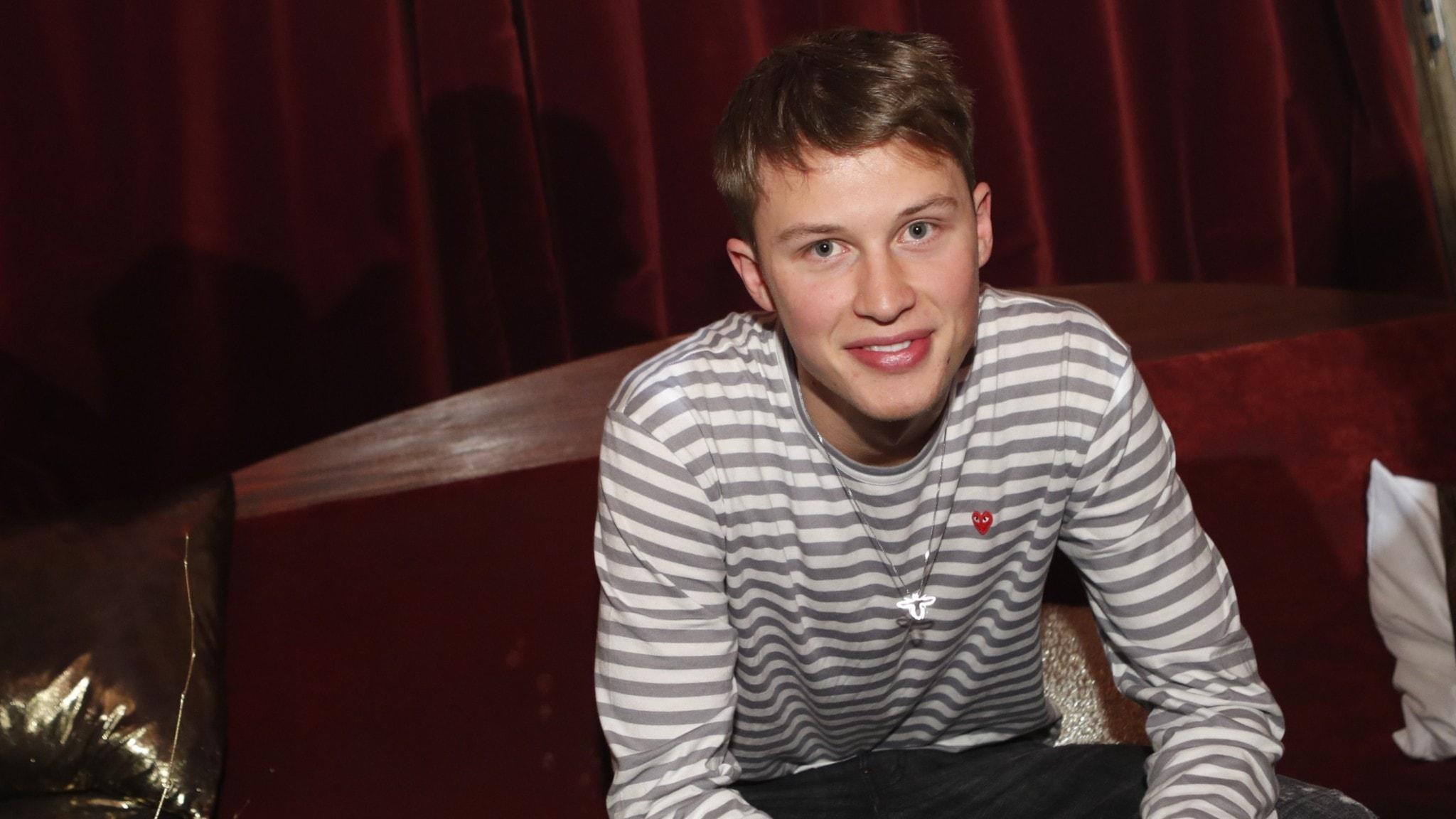 Victor Leksell, nominerad till Framtidens artist, var på plats när de nominerade till årets P3 Guld-gala presenteras på en pressträff på Café Opera i Stockholm.