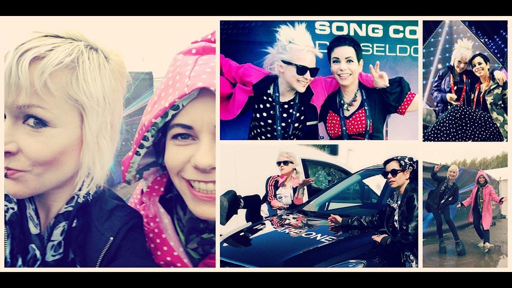 Carolina Norén proffskommentator och Ronnie Ritterland webbguru bevakar Eurovision Song Contest. Foto: Sveriges Radio