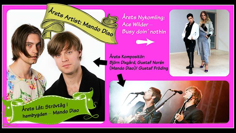 Mando Diao. Foto: Björn Dalin / SVT Bild och Mattias Ahlm/ Sveriges Radio. Ace Wilder. Foto: Ronnie Ritterland / Sveriges Radio.