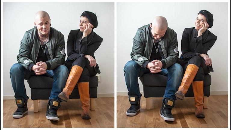 Linus Svenning och Carolina Norén. Foto: Ronnie Ritterland / Sveriges Radio