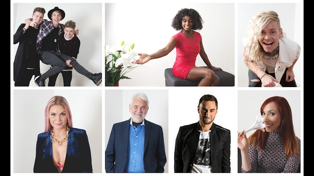 JTR, Caroline Wennergren, Midnight Boy, Dinah Nah,Hasse Andersson, Måns Zelmerlöw, Annika Herlitz.  Foto: Ronnie Ritterland / Sveriges Radio