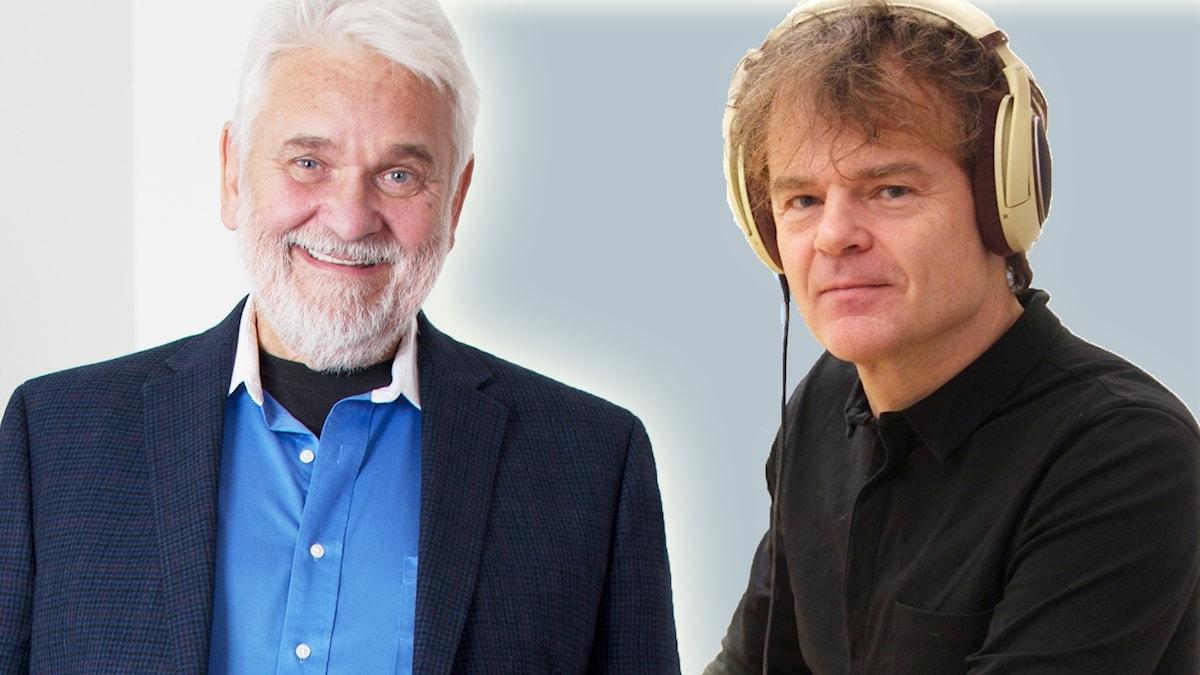 """Hasse Andersson och Nisse Hellberg överraskade publiken i Skellefteå under Melodifestivalturnén när de sjöng om att åka söderut i pausunderhållningen. Låten """"Bilen söderut"""" är skriven av Nisse Hellberg. Bilden är ett montage."""