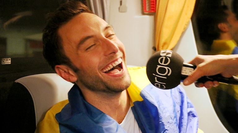 Måns Zelmerlöw vinner Eurovision Song Contest i Wien. Foto: Ronnie Ritterland / Sveriges Radio