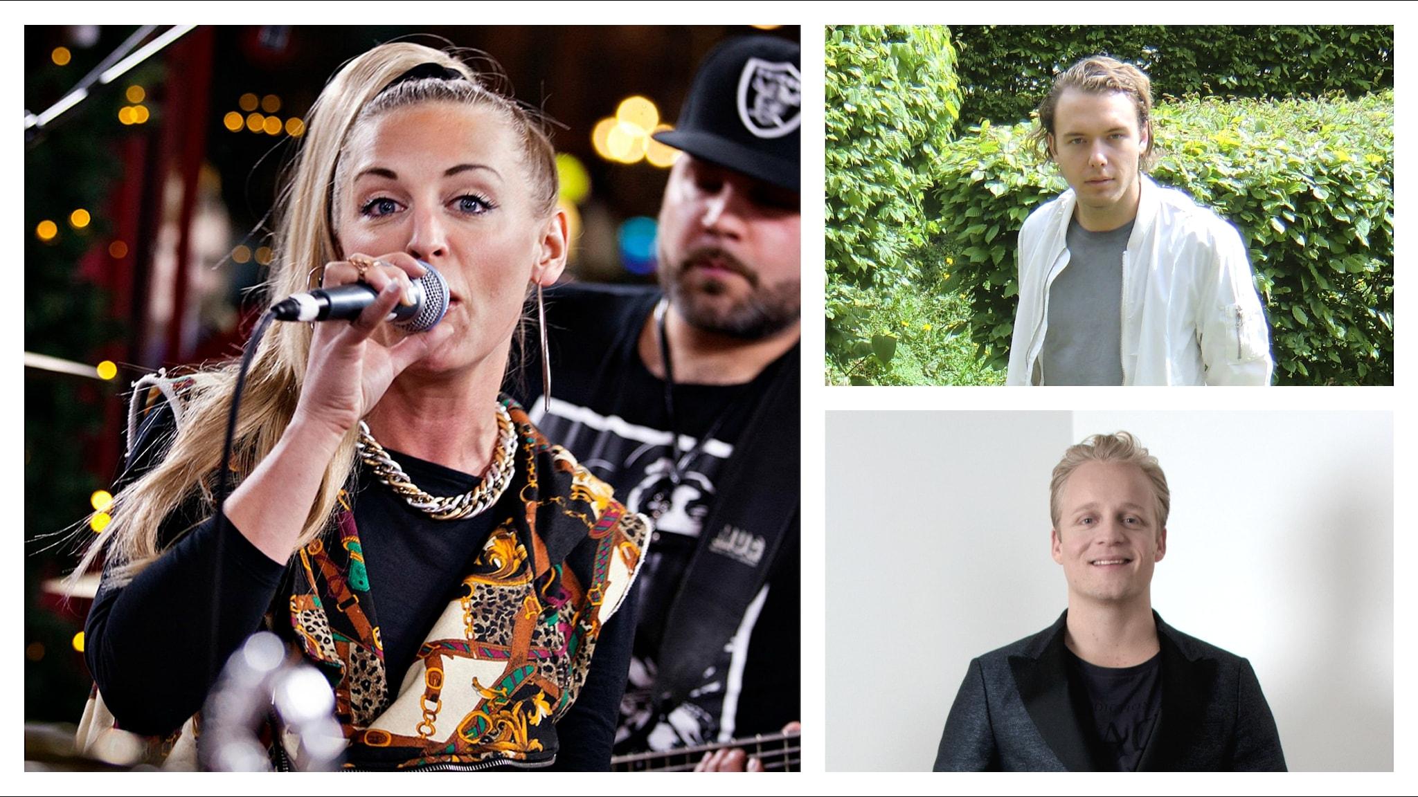 Syster Sol, Otto Knows och Andreas Weise utmanar på Svensktoppen. Foto: SVT Bild och Sveriges Radio