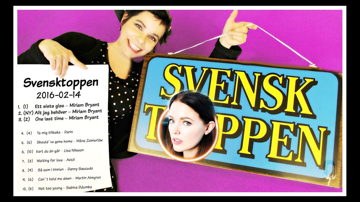 Miriam Bryant blir historisk på Svensktoppen när hon toppar med tre låtar.