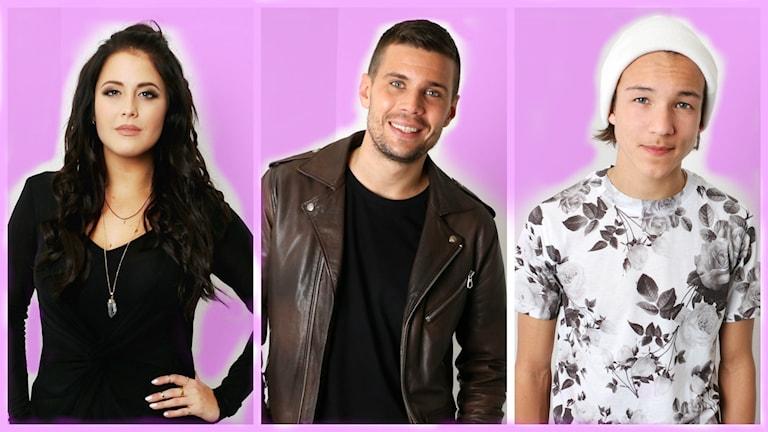 Tre av finalisterna i Melodifestivalen testas på Svensktoppen. Från vänster: Molly Sandén, Robin Bengtsson och Frans Jeppsson Wall.