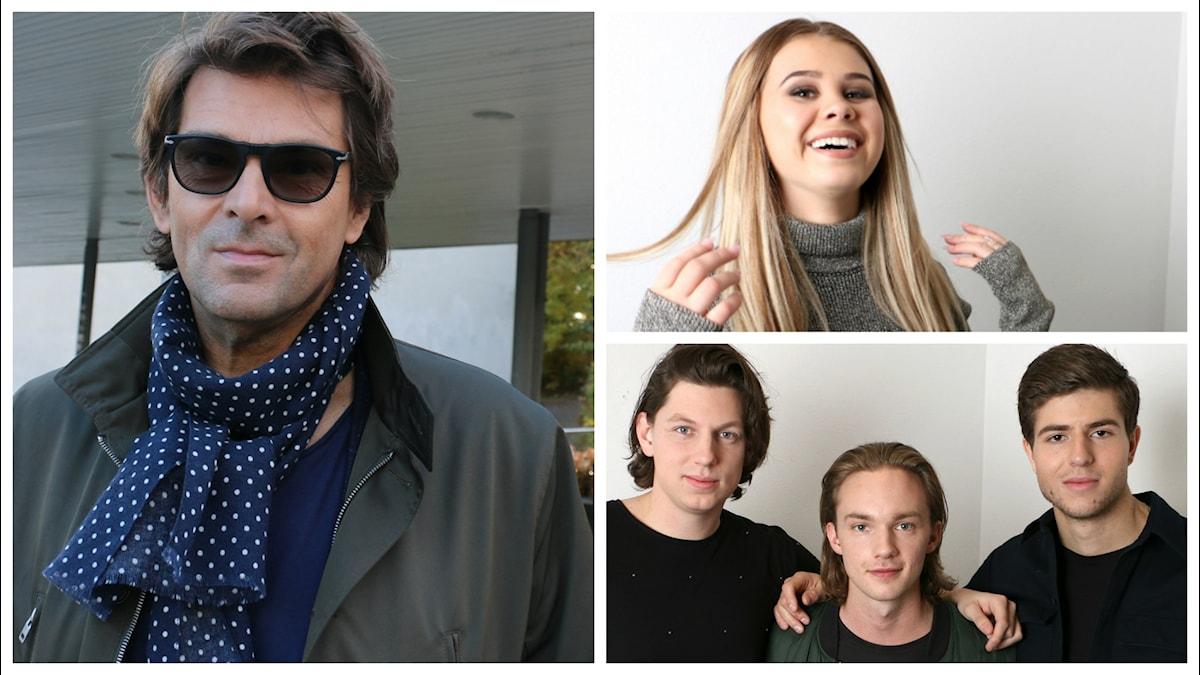 Bildkollage över veckans utmanare på Svensktoppen den 27 mars som är Niklas Strömstedt, SMILO och Lisa Ajax.