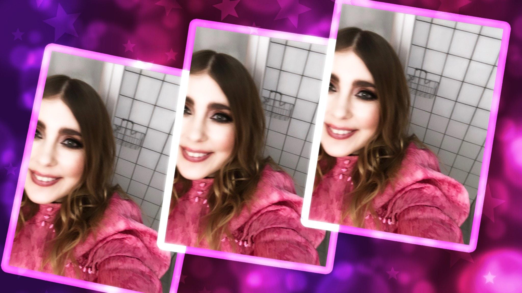 Bildkollage av Miss Li som tar en selfie mot rosa bakgrund.