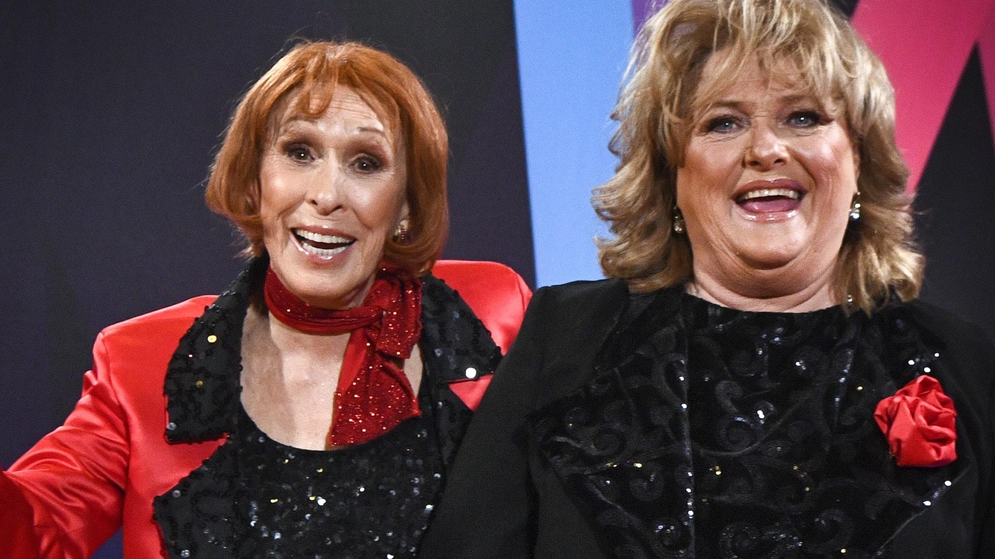 """STOCKHOLM 20210213  Eva Rydberg & Ewa Roos med låten """"Rena rama ding dong"""" gick vidare till Andra chansen vid Melodifestivalens andra deltävling i Annexet."""