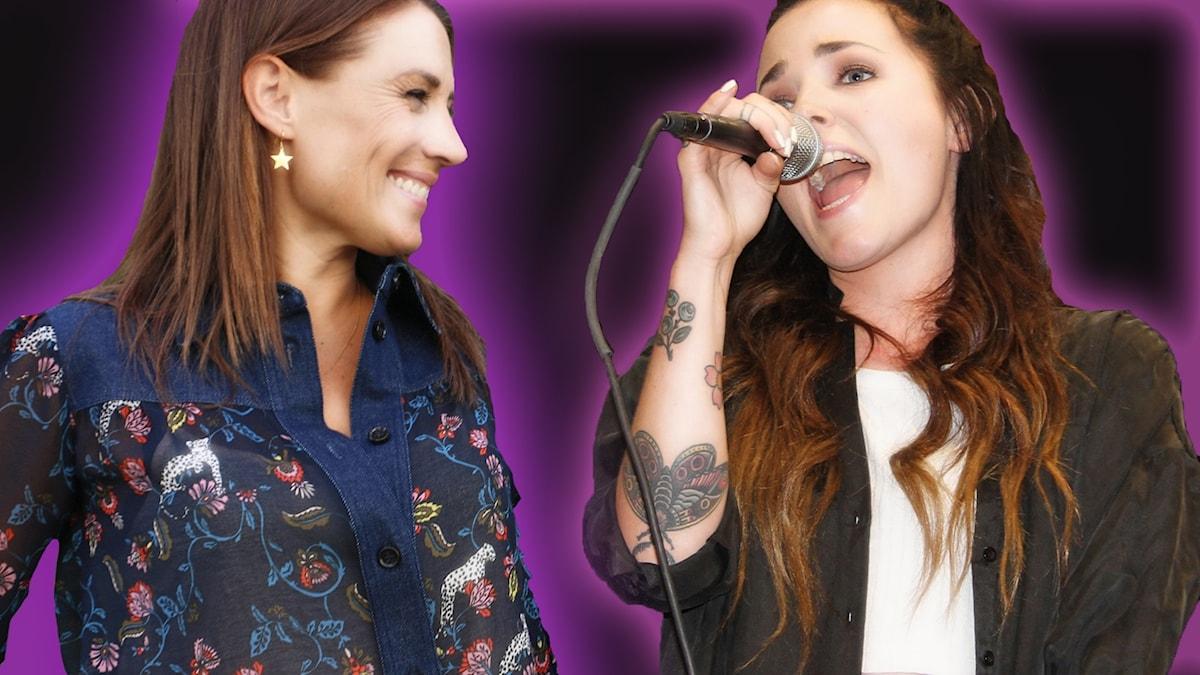 Jill Johnson och Miriam Bryant - ett retuscherat bildkollage. Jill tittar till höger och Miriam sjunger och håller i en mikrofon.