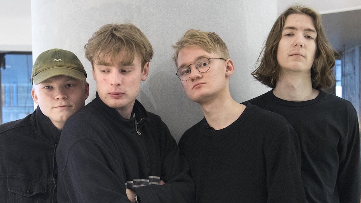 """STOCKHOLM 20190313 Uppsalabandet Mares är aktuella med sitt debutalbum """"Sunnanvind"""".  Från vänster: Albin Egrelius Fredlund, Fredrik Danfors, Olof Wärend Rylander och Albin Egrelius Fredlund."""