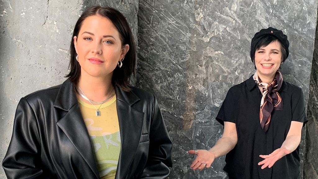 """Molly Sandén tillsammans med Svensktoppens programledare Carolina Norén. Molly Sandén går rakt in på fjärdeplatsen på Svensktoppen med """"Nån Annan Nu""""."""