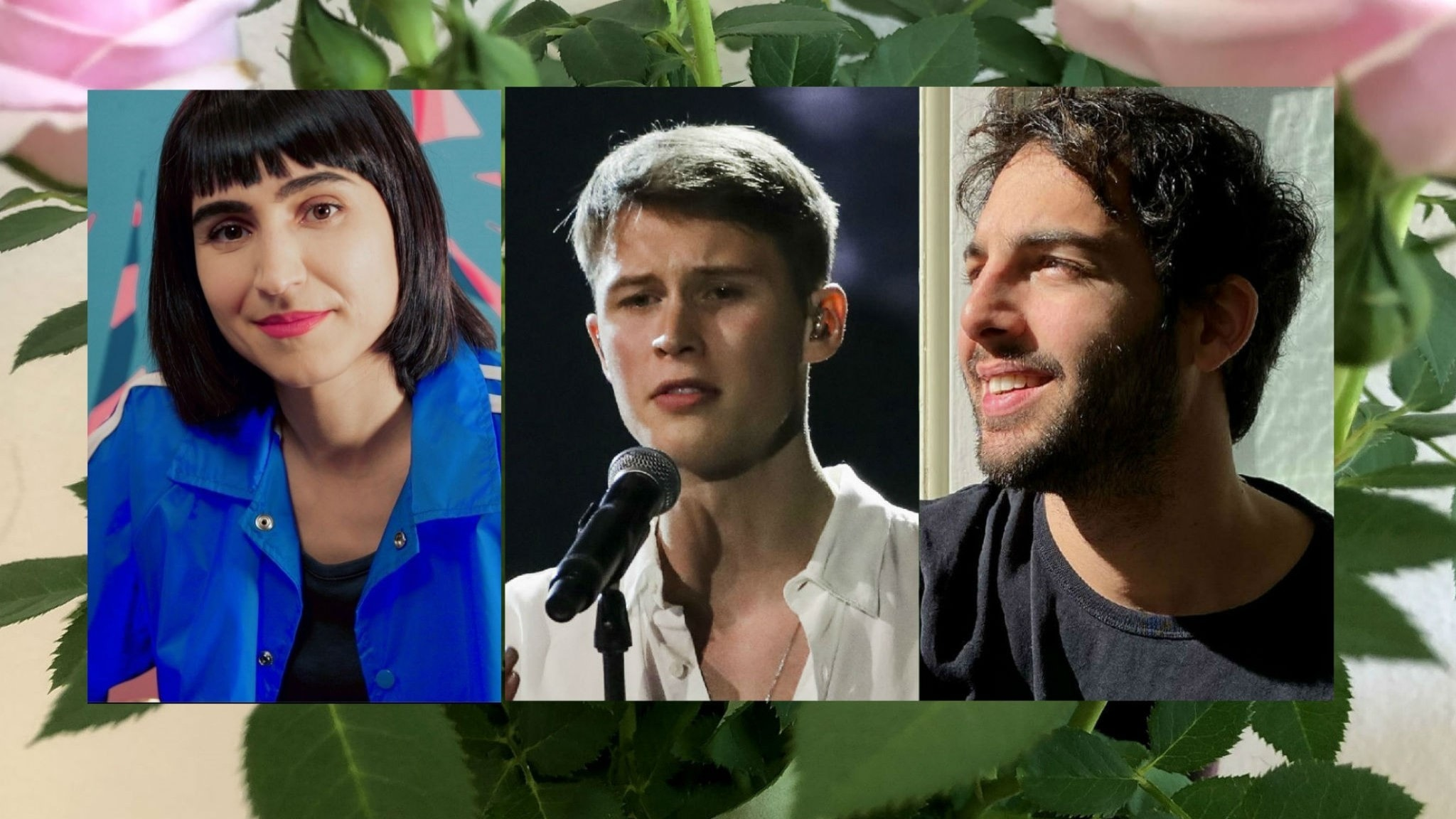 Närbilder på Laleh, Victor Leksell och Darin på ett fotomontage där man kan ana rosor i bakgrunden.