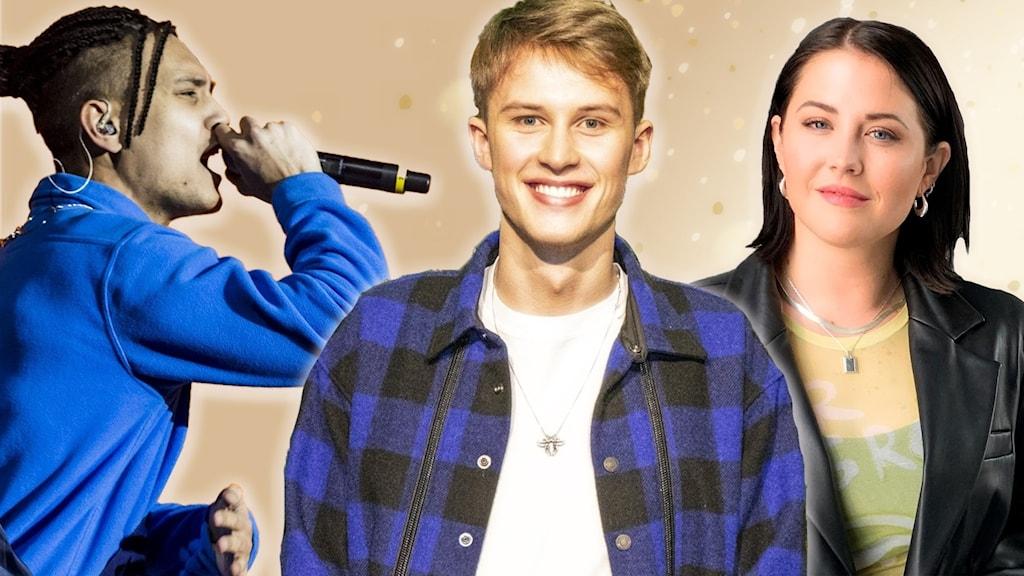 Oj, vad hände? Dubbelgrattis till tre artister på  Svensktoppen. På bilden: Kollage med artisterna Newkid, Victor Leksell och Molly Sandén