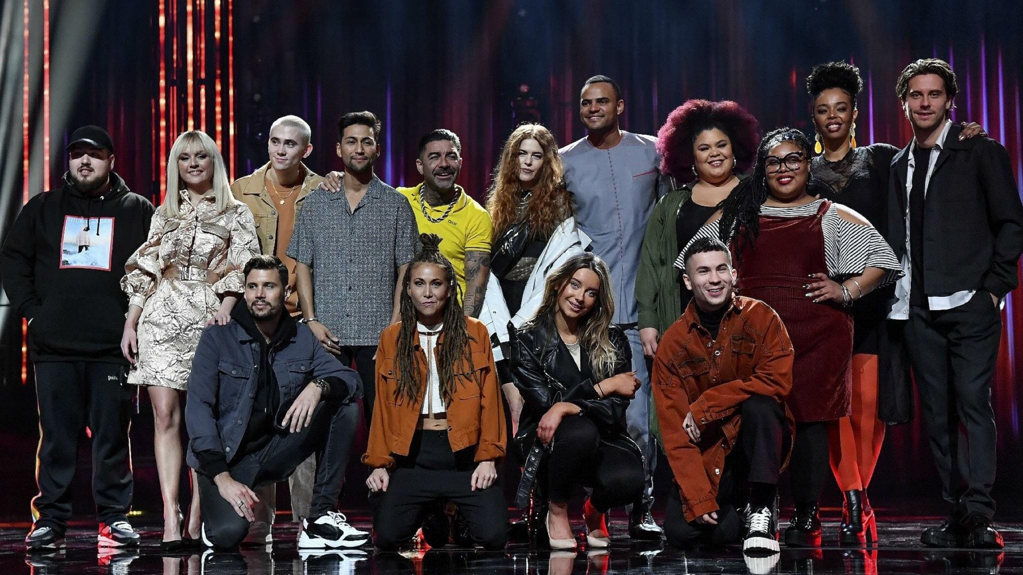 En gruppbild på samtliga artister som står på scen som var med i finalen av Melodifestivalen 2020