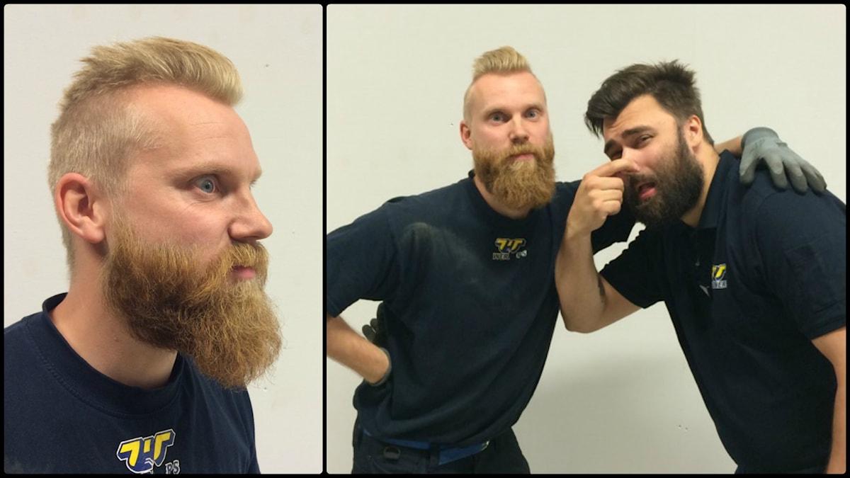 """Andreas """"Raggarn"""" Pettersson med sitt aromatiska skägg blir tillsagd av Arantxa. Foto: Privat"""