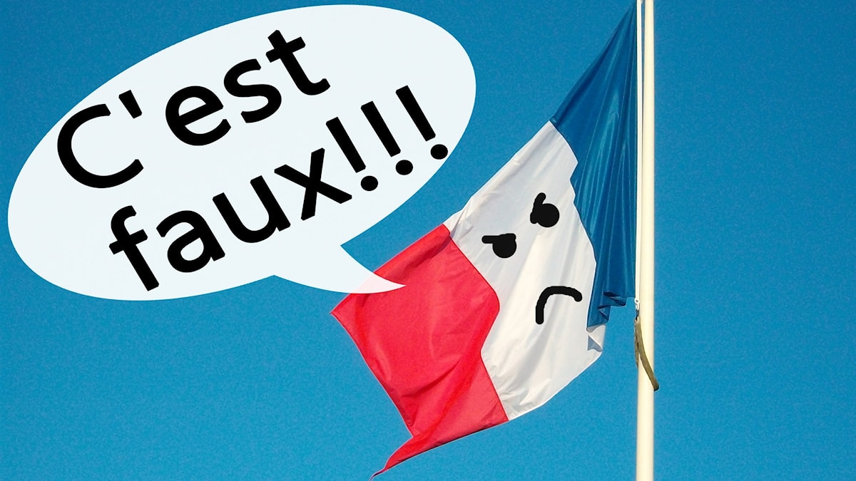 """Franska flaggan med en pratbubbla där det står """"Det är fel!"""" på franska. Flaggan har också arga ögon och en sur mun ritat på sig. Foto: Fdcomite/Flickr/CC BY 2.0/Gustaf Widegård/SR"""