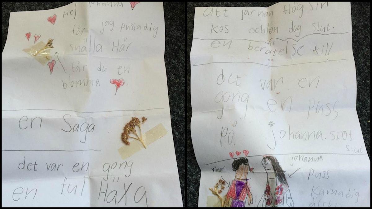 """Victors kärleksbrev till """"Johanna"""" i lågstadiet. Foto: Privat"""