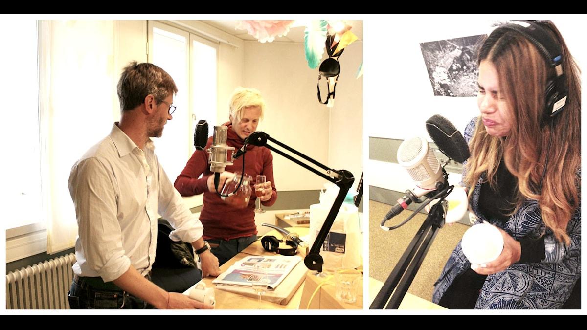 Fredrik Skeppstedt är tehandlare och visar hur fel det går att brygga en kopp grönt sencha! Foto: Nina Kruse/ Sveriges Radio
