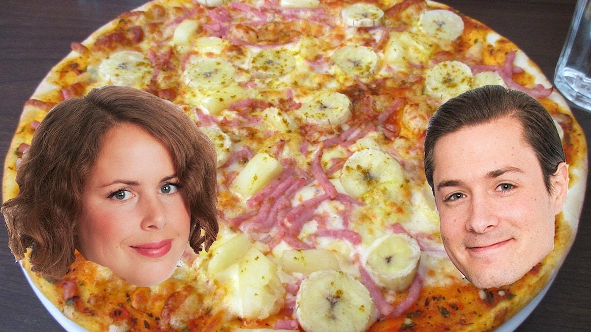Hanna och David har en liten biff...är banan&curry ok? Obs: Fotot är ett montage