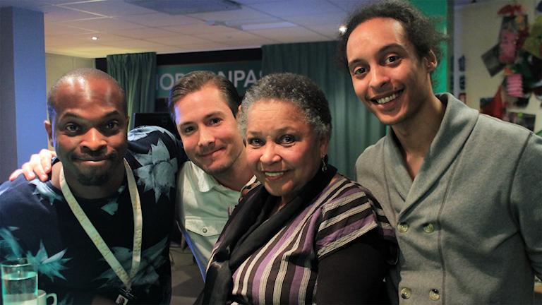 Kodjo, David, Gloria Ray Karlmark och Victor. Foto: Paulo Saka/SR