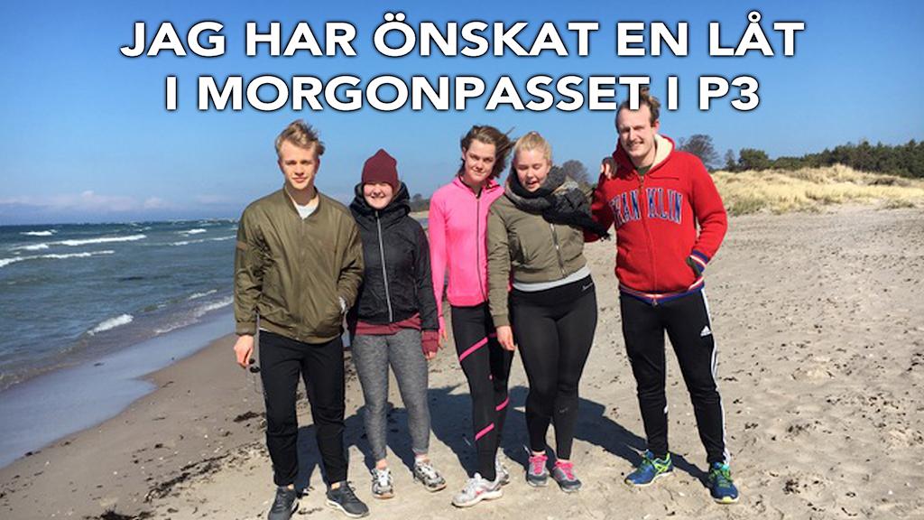 Daniel, Vivi, Stina, Låtönskaren Johanna och Anton. Foto: privat