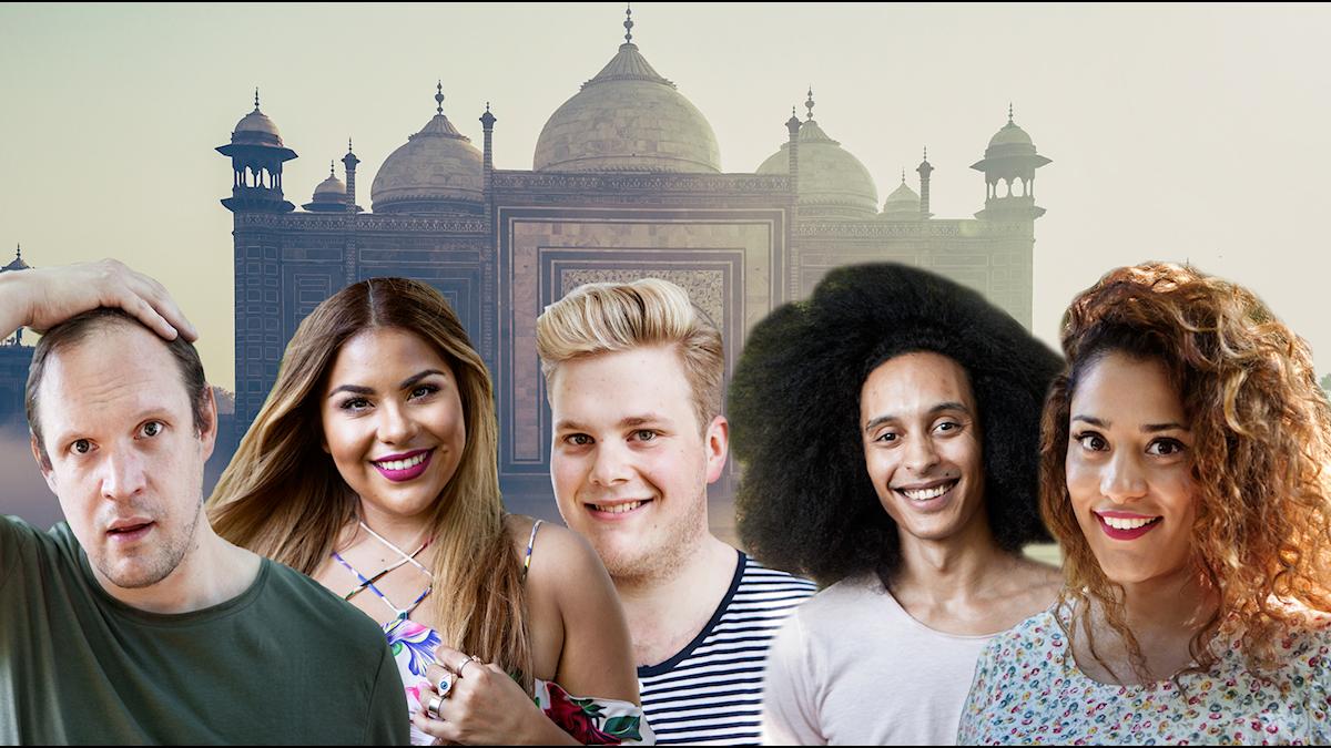 Bild på alla programledarna framför en indisk byggnad