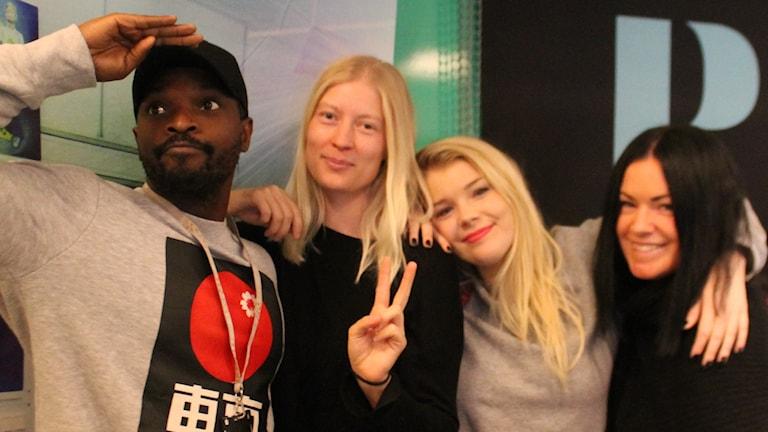 Kodjo, Emma Svensson, Kristina och Martina.