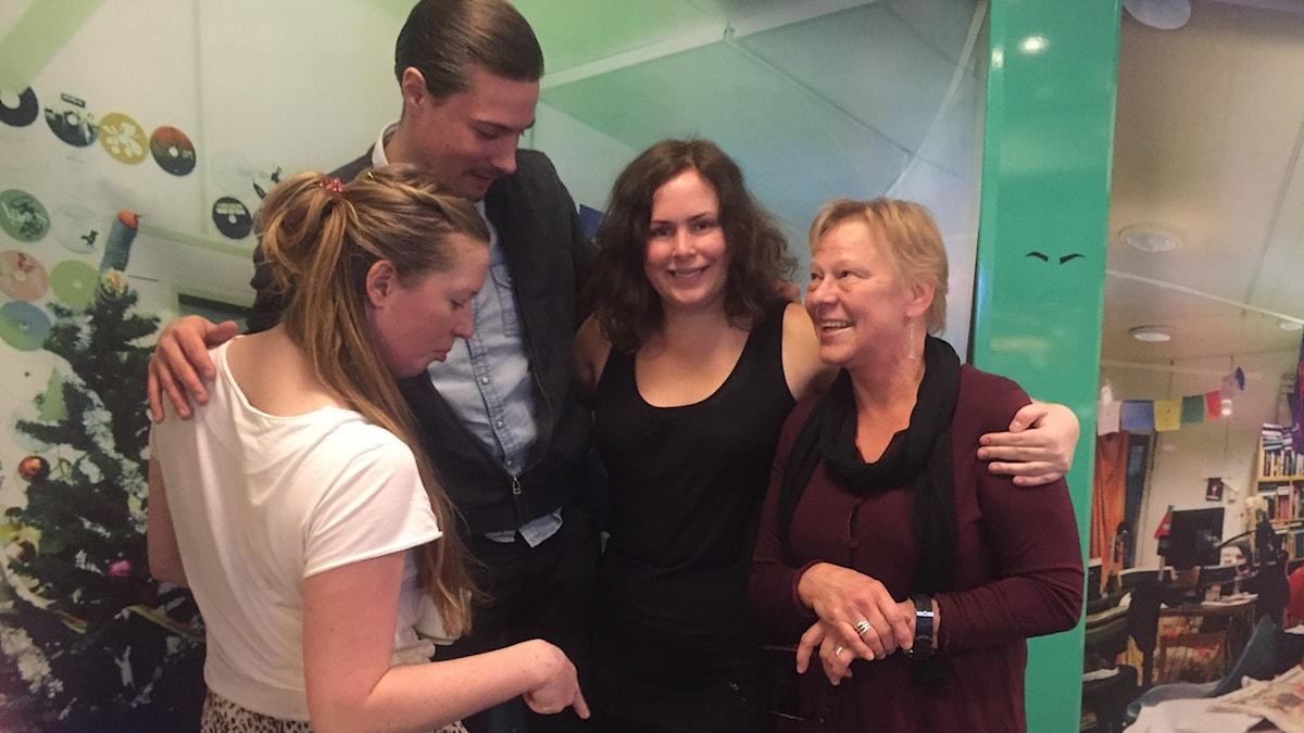 Sara, David, Inger Näslund och Hanna