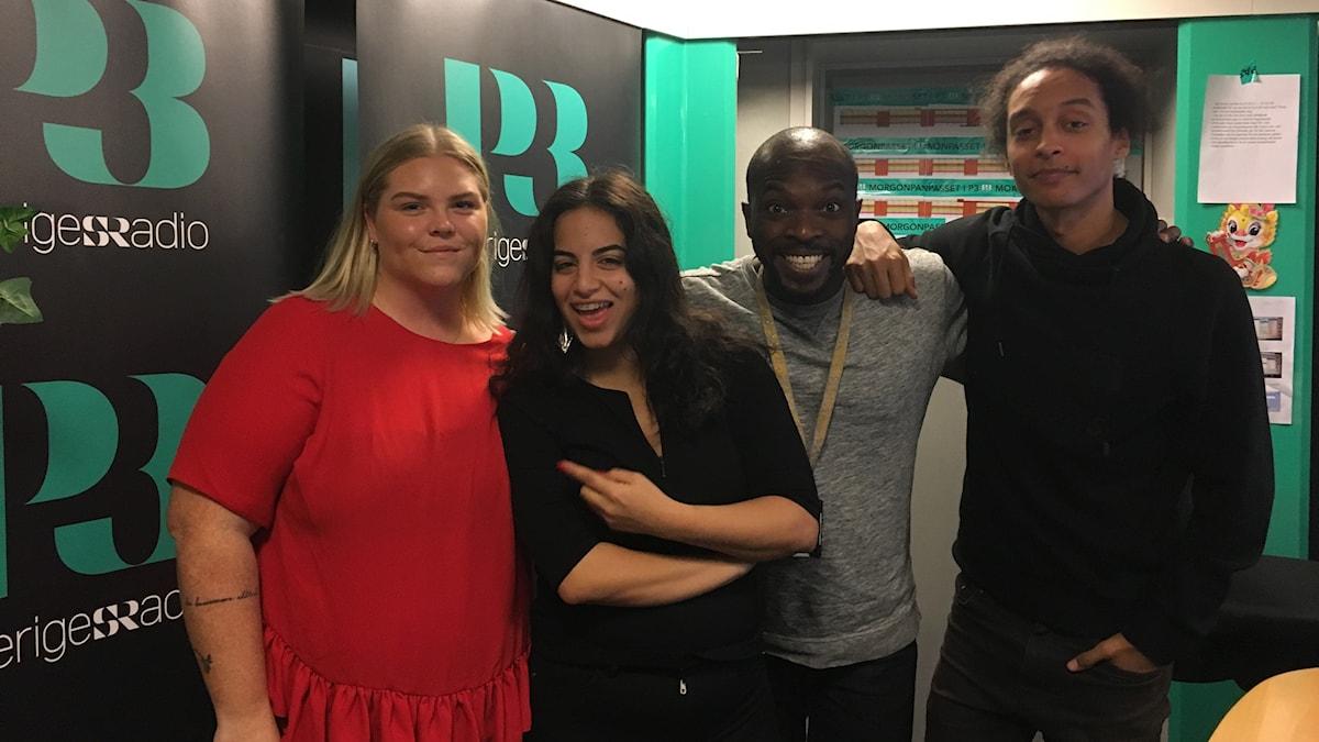 Johanna Nordström, Maria, Kodjo och Victor.
