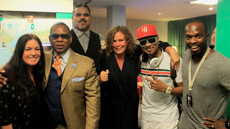 Martina, Hanna och Kodjo med The Original Sugarhill Gang