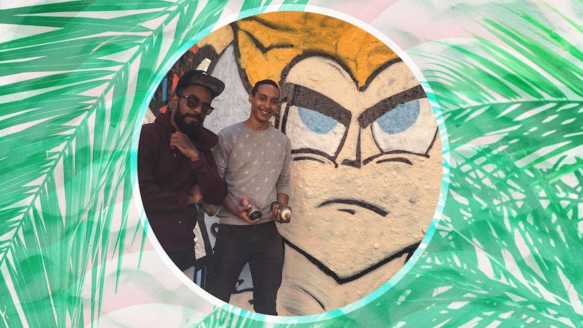 Victor åker till en graffitivägg i Malmö och provar att måla, live, tillsammans med konstnären Limpo