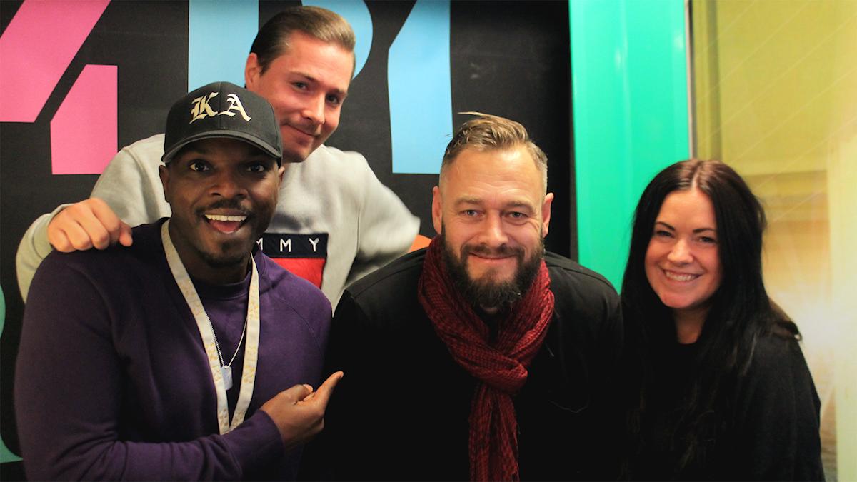 Kodjo, David, Olof Lundh och Martina i studion!