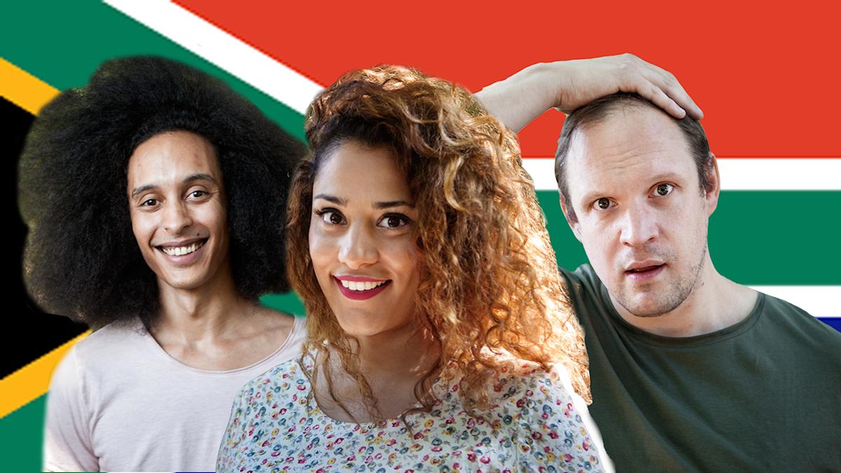 Victor Linnér, Farah Abadi, Jonatan Unge framför Sydafrikas flagga