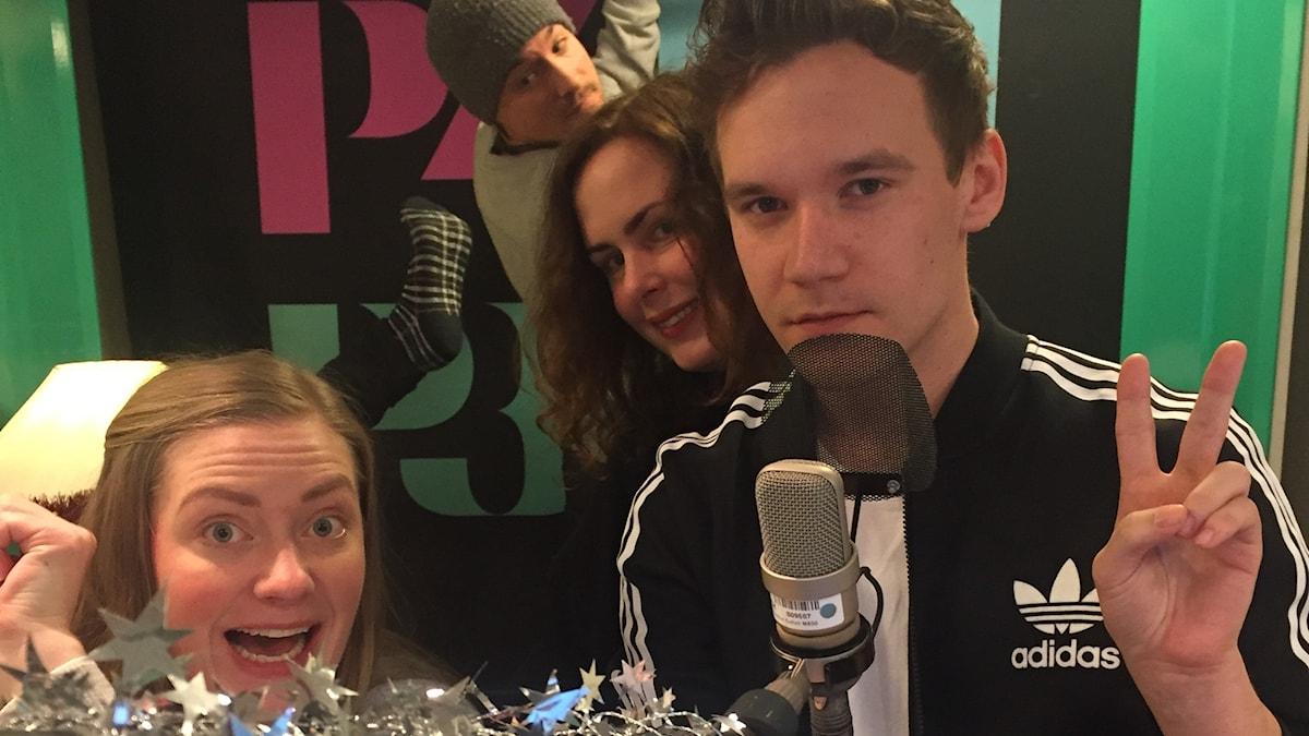Sara, David, Hanna och Christopher Garplind i studion!