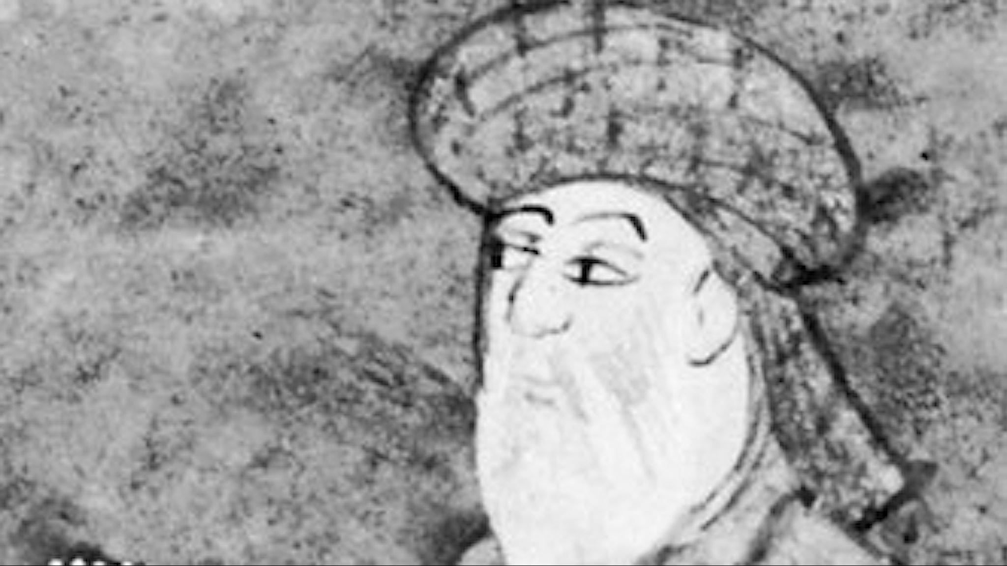 en ritad teckning av en äldre man med vitt skägg